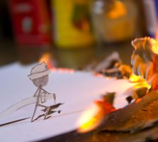 Paper fireman vs. real fire by Theyellowfish