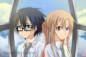 MEGANE Kirito and Asuna by Latte7
