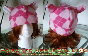 Pink Plaid Kitty Fleece Hat by kuramachan