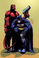 John Romita JR Batman Hellboy by GreeneLantern