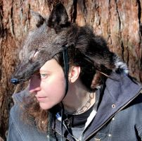 Full hide black coyote headdress by lupagreenwolf