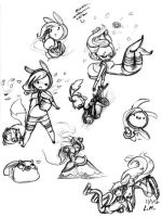 Fionna and Cake Sketches 1 by LunarMew