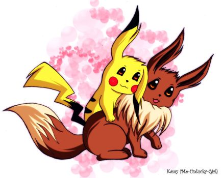 Pikachu and Eevee by Me-Unlucky-Girl