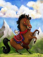 Bread riding a Horse by boldtman