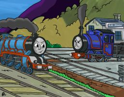 Sir Handel and Gordon in Trucks by captstar1