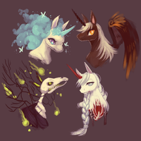 OCs -- unicorns + night mare by onisuu