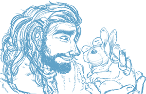 A Dwarf and His Rabbit by KasaraWolf