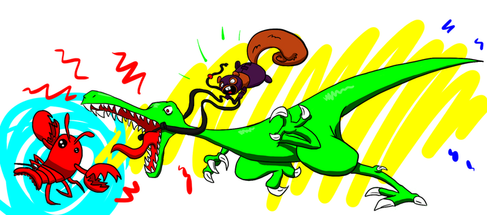 Kinky Squirrel Riding a Lobster-Fighting Raptor by Sir-Croco