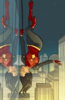 Spider-woman lines by Joe Eisma! Colors by me! by kmichaelrussell