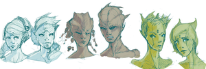 Sketches of Trionites by NightsJester