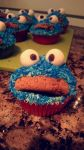 Cookie monster cupcake by TheSkyIsFullOfDreams