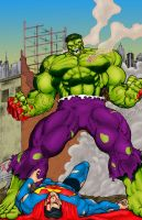 Hulk Beats Down Superman by statman71