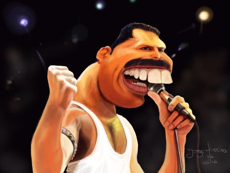 Freddie Mercury caricature by r3cycled