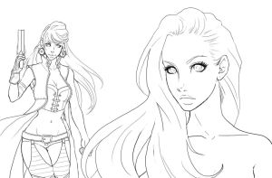 Adeline: New Look Line art by shidabeeda