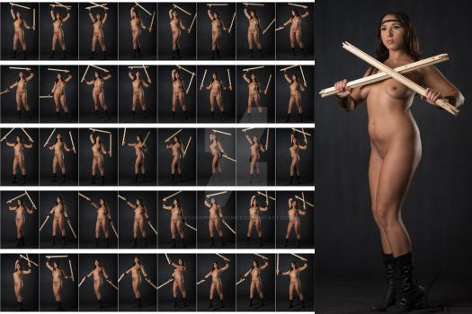 Stock: Julia Steel Nude Warrior Poses - 40 Images by stockphotosource