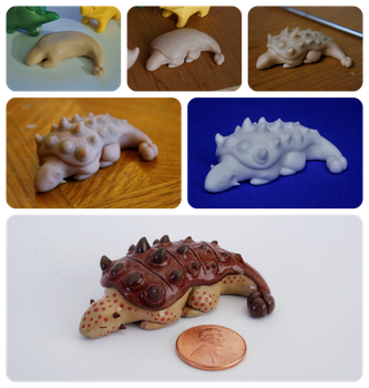 Ankylosaurus Figurine at Different Stages by MiniMynagerie