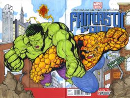 Hulk vs The Thing sketch cover commission by mdavidct