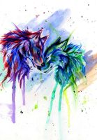 Rainbow Wolves by Lucky978