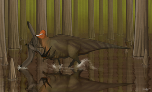 Corythosaurus Takes a Stride with a Friend by KirbyniferousRegret