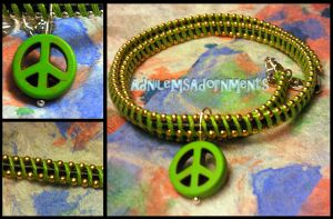 Give Peace a Chance Choker  ~Green/Gold~ by RavingEagleMedia