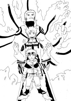naruto through the years ink drawing fanart by Harryboy755