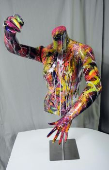 Spray paint  on mannequin bust recycled by Airgone