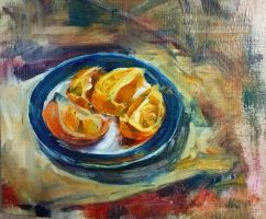 An orange on a blue plate by Marinicus