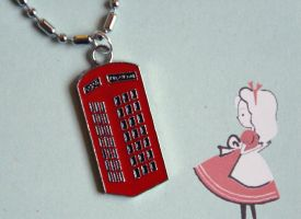 Red Phone Booth Necklace by foowahu-etsy
