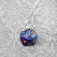 Wrapped D20 Dice Pendant by HoneyCatJewelry