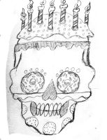 Donuts and Cookies Calavera Pencil sketch by Buddhadragon