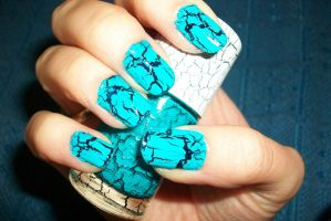 crackle nail art in deep blue and teal by butterfly1980