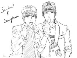 Sandeul and Gongchan by Jin-tan