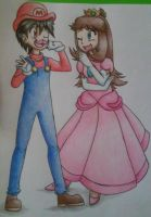 (Red)Marioplier and Peach(Blue) by awesomeshadow773