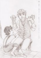 Frodo and Bilbo sketch by Isis-90