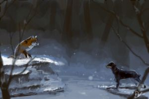 Daily Spitpaint - Fox and the Hound by thefireis