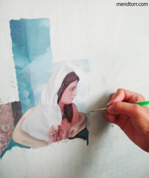 me painting 'Abort the Adonai' by Mendtorr