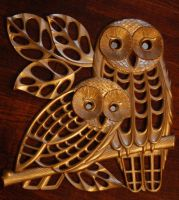 Golden Hooty Hoots Wall Hang by Marzipanapple