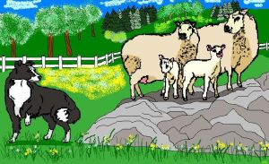 Border Collie With Sheep by faery-dustgirl