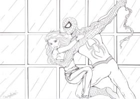 Commission Spiderman and MJ by DrunkenMaster2