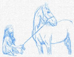 Horse and Owner Sketch by enchantedscrollery