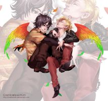 Commission: Ankh and Eiji by CosmicSpectrumm