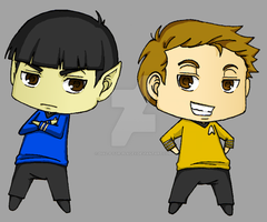 Star Trek Chibis - Kirk Spock by Dial-P-For-Placey