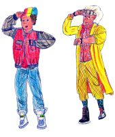 Marty McFly and Doc Brown by Gardek