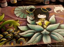 kokeshi and lotus... by NandaCorrea