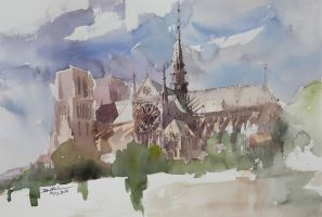 Notre Dame, 38x56cm by NiceMinD