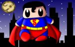 Superman in the city. (Animation Gif) by cmjcutiepie