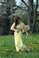 Yellow dress walk heads down by eyefeather-stock