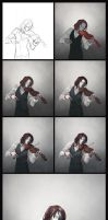 faceless violinist: drawing process by Rheyan