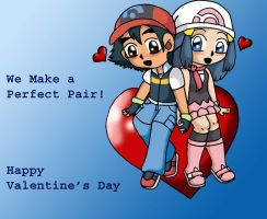 Ash and Dawn Valentine by sandapolla