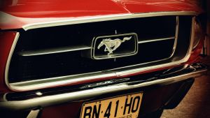 Vintage Mustang Red Close by W00den-Sp00n
